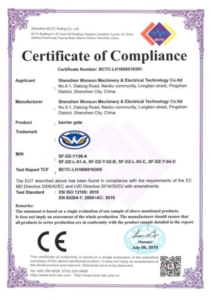 Chine Shenzhen Wonsun Machinery & Electrical Technology Co. Ltd Certifications